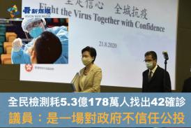 【疫情】全民檢測耗5.3億178萬人找出42確診 議員:是一場對政府不信任公投