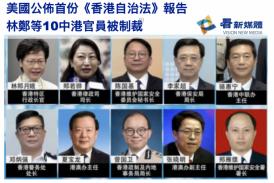 【國際】美國公佈首份《香港自治法》報告 林鄭等10中港官員被制裁