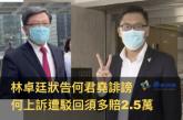 【721事件】林卓廷狀告何君堯誹謗 何上訴遭駁回須多賠2.5萬