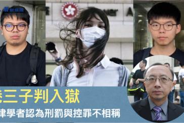 【國安法】香港三子判入獄 法律學者認為刑罰與控罪不相稱