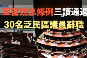 宣誓效忠條例三讀通過 30名泛民區議員辭職