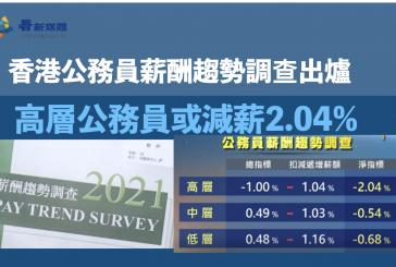 香港公務員薪酬趨勢調查出爐 高層公務員或減薪2.04%